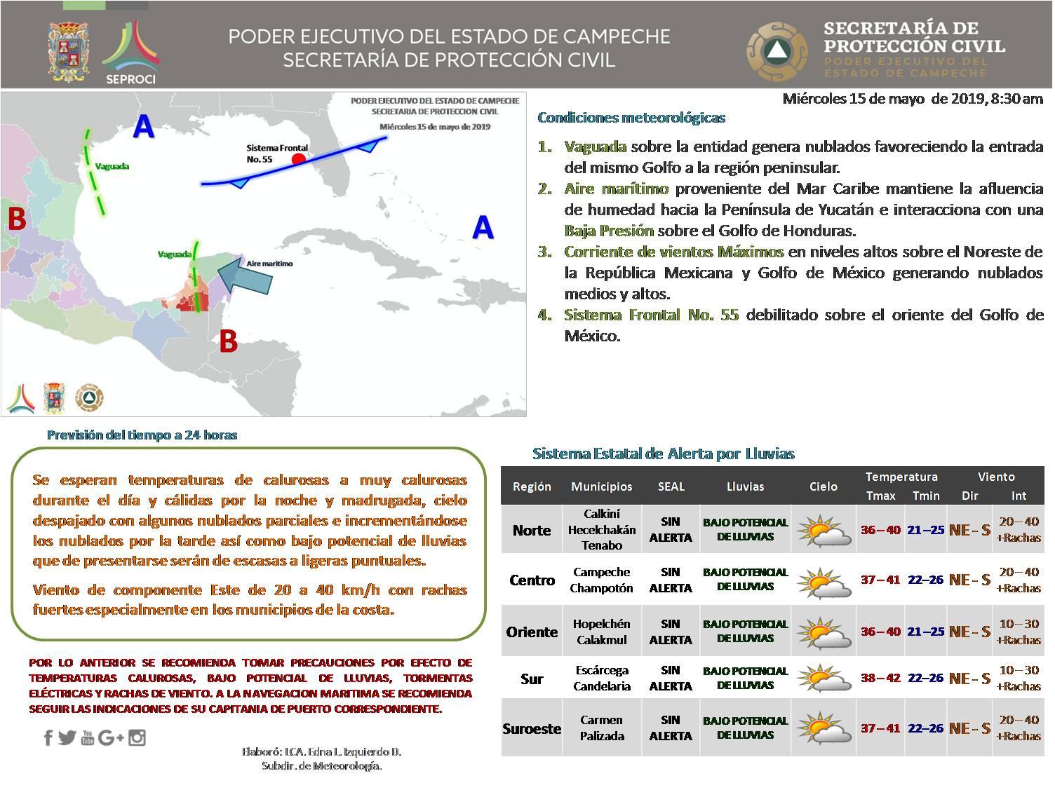 REPORTE DEL CLIMA PARA ESTE 15 DE MAYO