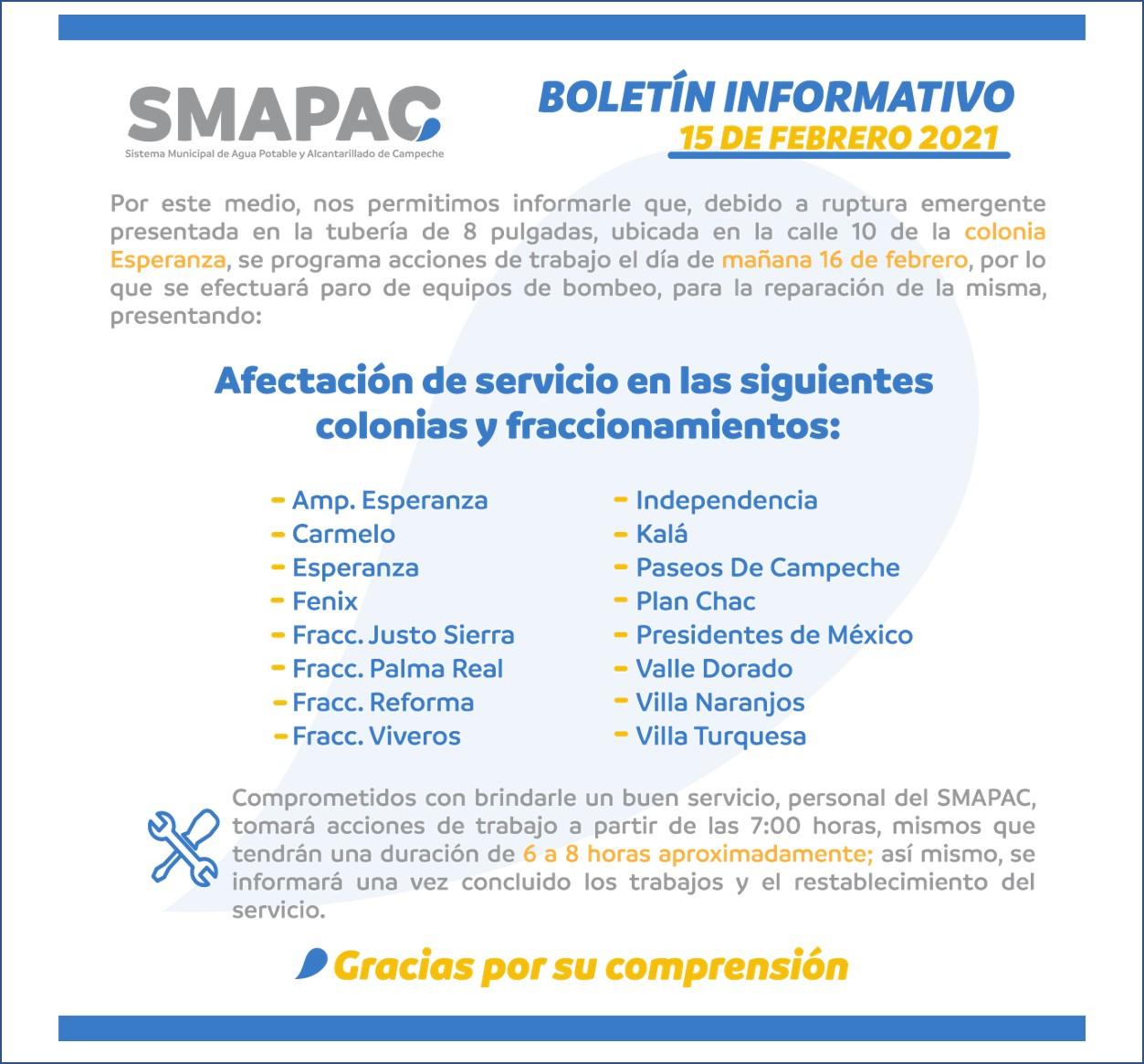 Realizan trabajos de reparación en línea de 8 pulgadas, por ruptura en la colonia Esperanza #Campeche